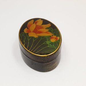 Black Lacquer Oval Wood Trinket Box w/lotus